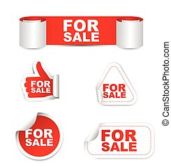 red set vector paper stickers for sale