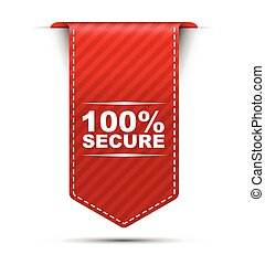red vector banner design 100% secure