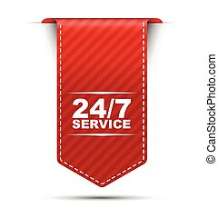 red vector banner design 24/7 service