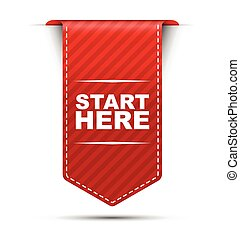 red vector banner design start here