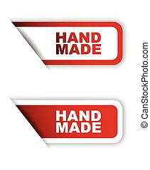 red vector paper sticker hand made (two variant)