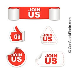 red vector set paper stickers join us