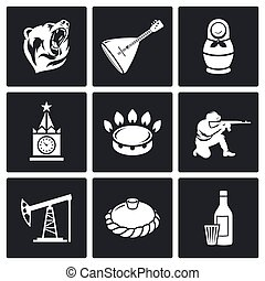 This is Russia Vector Icons Set - Russian characters Icon...