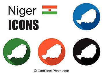 set colorful map flat icons state niger