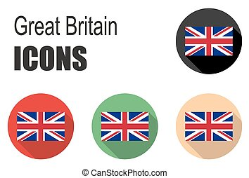 set flat icons great britain