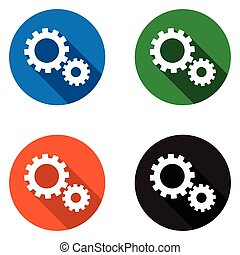 set vector colorful flat icons gear