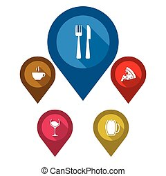 set vector map pointers/ blue pin restaurant / brown pin...