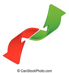 two signs arrow in red and green color