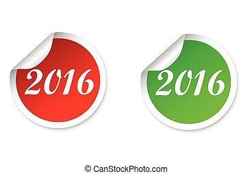 two stickers in red and green colors happy new year 2016