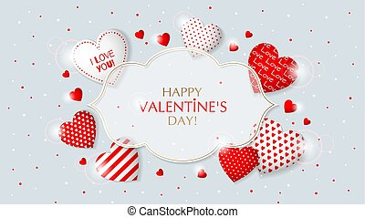 This is Valentine s Day frame with hearts.