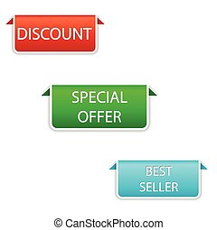 vector design set of elements in three colors red, green, blue - discount, special offer, best seller