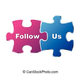 vector puzzle sign follow us