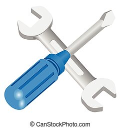 vector repair icon tools - wrench and screwdriver