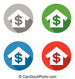 vector set colorful flat icons bank