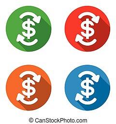 vector set colorful flat icons cash flow