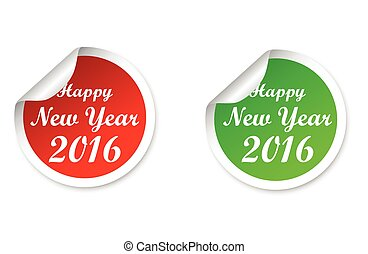 vector stickers happy new year 2016