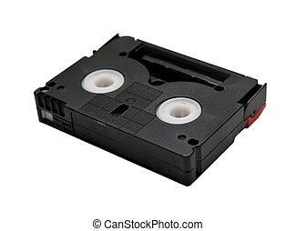 This mini DV cassette on white background