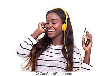 This music is really nice! - Beautiful young african woman...