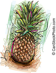 This Pineapple Vector Image was digital created. No opening Paths or Gradients. Only one layer on white Background.