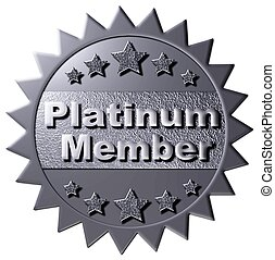 "This platinum seal with similar stars declaring ""Platinum Membership"" can be used on the www or any promotional material for Platinum Membership."