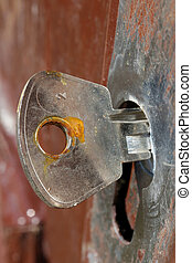 This rusty key was forgotten in the English lock less than a year ago
