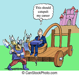 An executive is about to be catapulted into a castle for a job interview