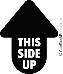 This Side Up Shipping Label Icon Cardboard Box Black Logo On White Background