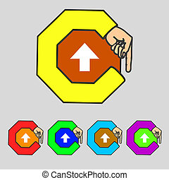 This side up sign icon. Fragile package symbol.Set colourful buttons. Hand cursor pointer