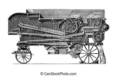 Agricultural machinery - This vintage engraving depicts a...