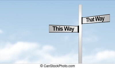 This way and that way sign