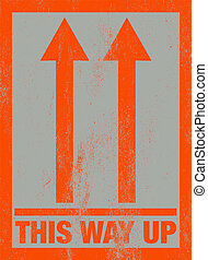 'This way up' message - Orange scratched 'this way up'...