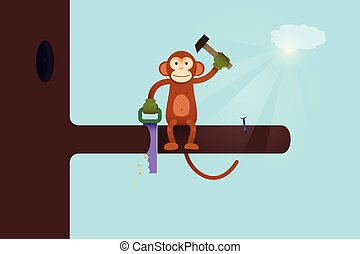 This Webpage is Under Construction concept. Monkey cartoon...