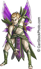 Thistle Flower Fairy - Green and purple thistle flower fairy...