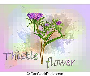 Thistle watercolor vector food illustration