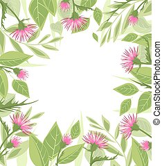 Thistle with green leaves - Vector Illustration thistle with...