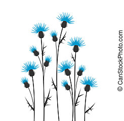 thistles silhouette on a white background