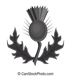Thistles with green leaves.Medicinal plant of Scotland.Scotland single icon in monochrome style vector symbol stock illustration.