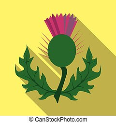 Thistles with green leaves.Medicinal plant of Scotland.Scotland single icon in flat style vector symbol stock illustration.
