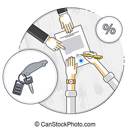 Man signs financial document for credit to buy a new car and bank employee or auto salon dealer explains terms of loan, or car rental, top view of desk with people hands and paper documents. Vector.