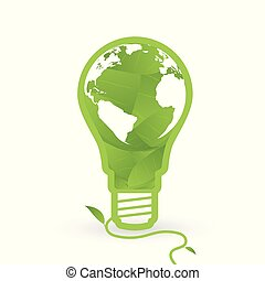 Thnk green concept light bulbs with map of world and leaf inside