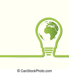 Thnk green concept light bulbs with map of world inside