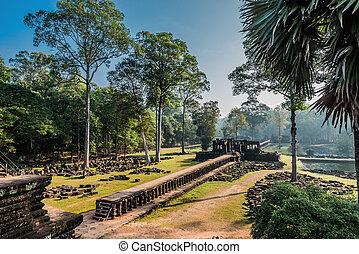 thom,  baphuon, templo,  angkor, camboya