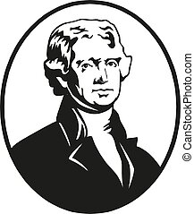 thomas, 合併した, illustration., jefferson, states., ベクトル, 大統領