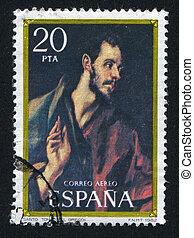 Thomas by El Greco - SPAIN - CIRCA 1982: stamp printed by...