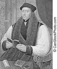 Thomas Cranmer (1489-1556) on engraving from the 1800s. Leader of the English Reformation and Archbishop of Canterbury. Engraved by J.Cochran and published by the London Printing and Publishing Company.