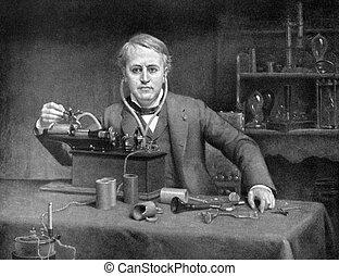 Thomas Edison (1847-1931) on antique print from 1899....