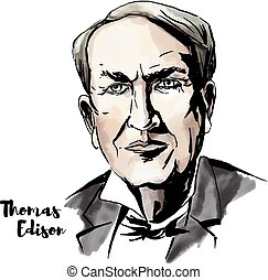 Thomas Edison watercolor vector portrait with ink contours. ...