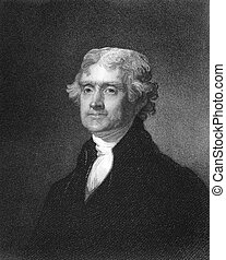Thomas Jefferson (1743-1826) on engraving from 1835. ...