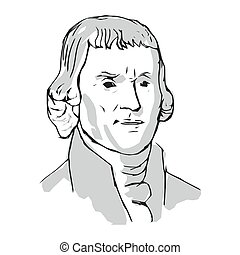 Thomas Jefferson, One of the Authors of the Declaration of Independence, 3rd President of the United States. Vector Illustration.