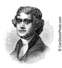 Thomas Jefferson. Engraved image from a Harpers Monthly...